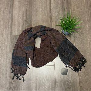 Zara Man Blanket Scarf with Tassels Brown/Black